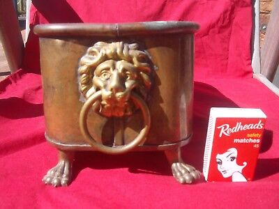 Vintage Copper and Brass Container Decorated with Lions Head and Feet