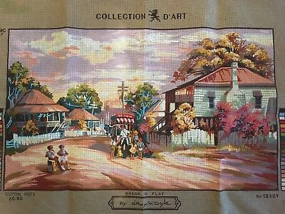 "Collection D'art Tapestry Needlepoint Canvas ""Break in Play"" No. 12.101 RRP $55"