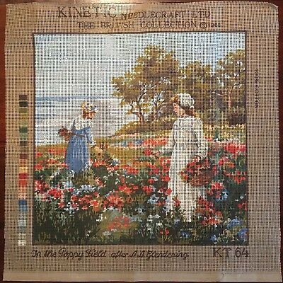 "Kinetic Tapestry Needlepoint Canvas ""In The Poppy Field"" KT64 Canvas Only"