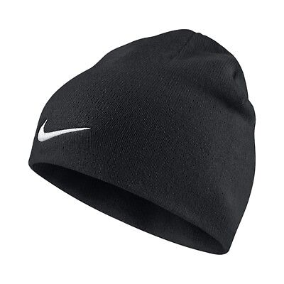 New Nike Adults Mens Unisex Team  Beanie Hat Tick Swoosh Official Black