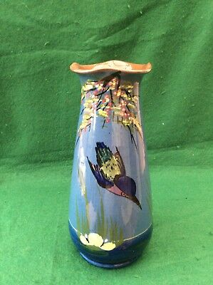 Longpark Torquay Kingfisher pottery vase (9.5 inches)