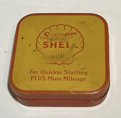 RARE Vintage Super Shell Gas Oil Advertising Ribbon Can Petroleum Waters Neidich