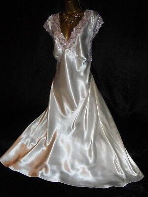 Stunning vtg silky satin nightie dress slip negligee nightdress  20