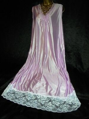 Stunning vtg silky  nightie dress slip negligee nightdress  chest  20/24 58 bust
