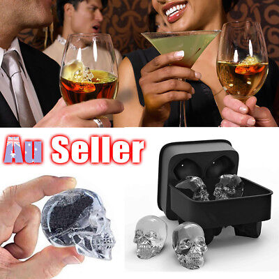 Whiskey Silicone Ice Cube 3D Skull Brick Maker Mold Mould Halloween Party Tray
