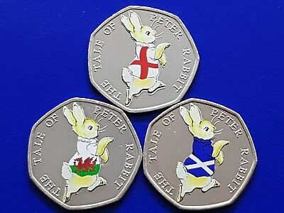 Peter Rabbit 50p Coin Football England  Scotland Wales Beatrix Collection 2017