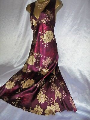Stunning vtg silky satin nightie dress slip  nightdress  ruby gold  42  chest