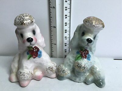 PY Miyao Poodles Couple Salt and Pepper Shakers  B457 Japan 1950's