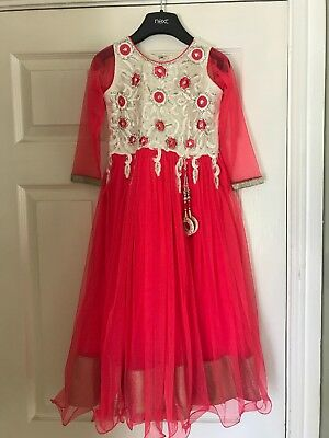 Kids Indian Dress Red Silver Cream Size 22 Age 5 Girls Bollywood