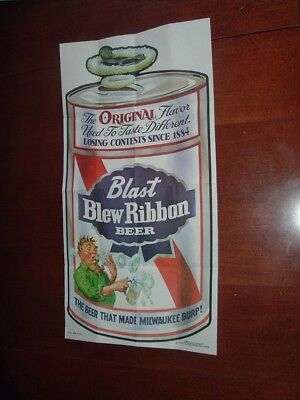 1973 1974 Topps Gum Co Wacky Packages Poster #3 Blast Blue Ribbon Beer