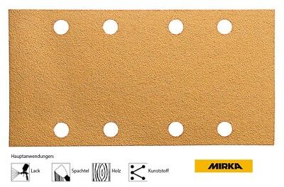 50 Abrasive Stripes Mirka Gold with Touch Fastener on Reverse 8-loch 93 x 180 Mm
