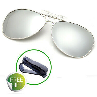 Polarized Clip On Flip Up Sunglass For Outdoor Sports Night Vision Shade Glasses