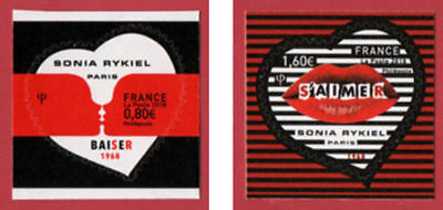 france 2018 stamps fashion SONIA RYKIEL 1968 valentine art heart love 2v mnh s/a