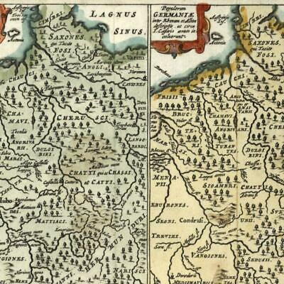 Germany ancient Germania Netherlands 1672 miniature Cluver Europe hand color map