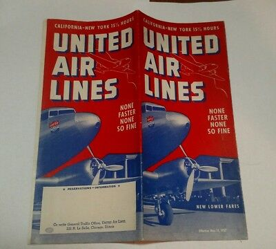 1937 United Airlines Timetable May 1937