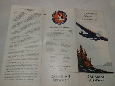 Canadian Airways Timetable May 1938