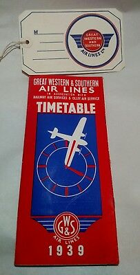Great Western & Southern Air Lines Timetable and Luggage Label 1939