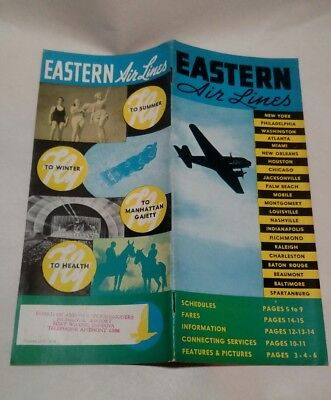 Eastern Air Lines Timetable 1930's