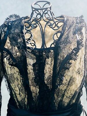 Antique 19th Century Victorian Edwardian Silk and Lace Bodice Blouse Jacket
