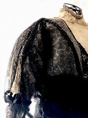 Antique 19th Century Victorian Edwardian Beaded Lace Silk Chiffon Bodice Jacket