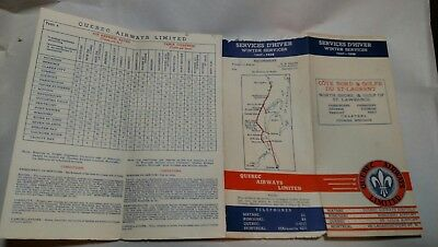 Quebec Airways Limited Timetable 1937-1938