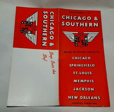 Chicago & Southern AirwaysTimetable 1937