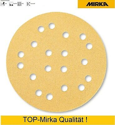 100 Mirka Gold round Touch Fasteners Sanding Discs 125 mm 19 Compartment