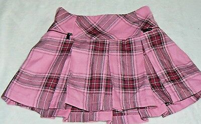 Justice Girls plaid skirt 7 lined Navy Maroon Pink with shorts Zippers Worn once