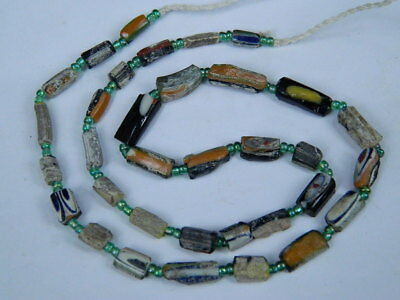 Ancient Mosaic Glass Fragment Beads Strand Roman 200 BC  #BE5084