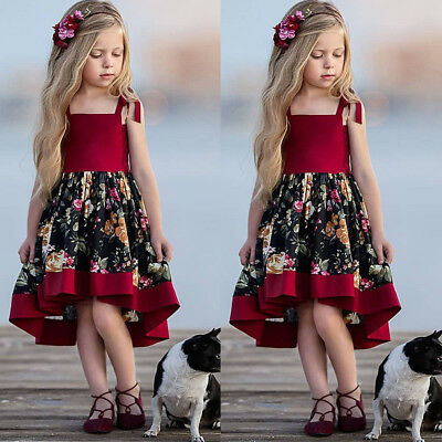 AU Toddler Kid Baby Girls Formal Dress Party Princess Dress Floral Sundress 1-6Y