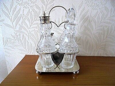 Vintage Glass/Silver Plated Condiment Set