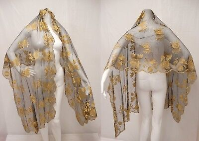 """ANTIQUE VICTORIAN BLACK NET LACE SHAWL Silk Embroidered GOLD ROSES 26"""" X 84"""""""