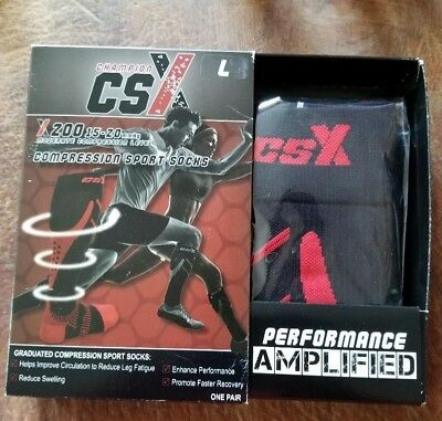 CSX 15-20 mmHg Compression Socks Red on Black (FREE SHIPPING)