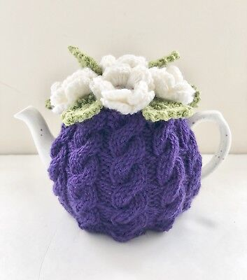 BN Handmade Pure Wool Cabled Floral Tea Cosy, Size Small -fits 2-Cup Teapots