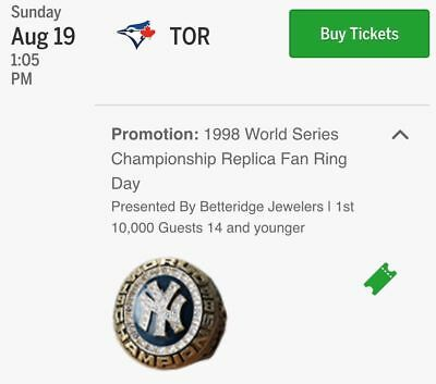 1998 Yankees SGA World Series Championship Replica Ring IN STOCK 8/19/18 August