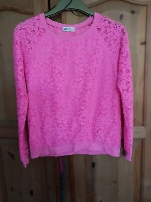 H&M pink Lacey Top Size 14 Years
