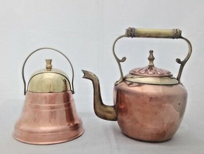 VTG Copper & Brass Kettle with Copper & Brass Bell Shaped Tea Caddy VGC