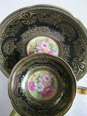Japanese Cup & Saucer Raised Gold Gilt Hand Painted Inset Flowers