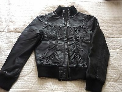 New Look Girls Black Faux Leather Jacket Age 13-14 years