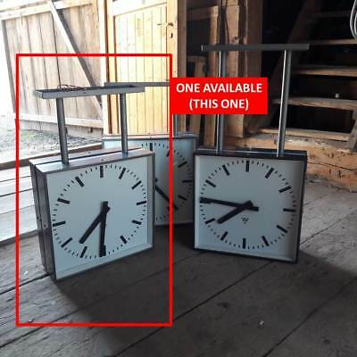 1 X PRAGOTRON LARGE 1960's DOUBLE SIDED STATION CLOCK NEVER BEEN OUTSIDE