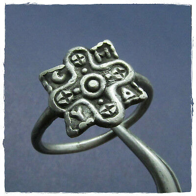** CROSS with MONOGRAM ** ancient  SILVER BYZANTINE ring !!!