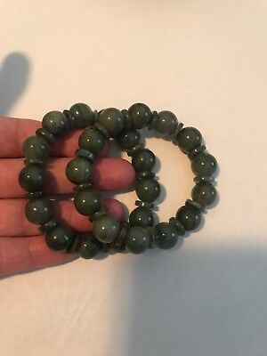 100% Pure Untreated Jadeite - 2 Grade A Vintage Gemstone Adjustable Bracelets