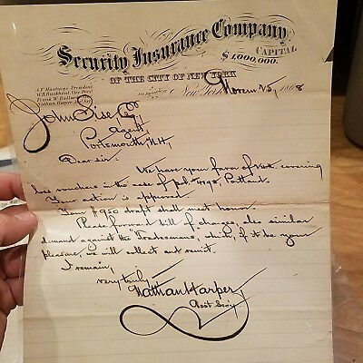 Vintage 1868 Security Insurance Policy New York City Great Condition! Antique