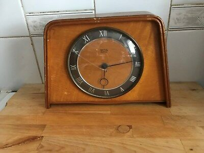 Vintage collectable working Art Deco mechanical Smiths 4 jewels 8 day clock