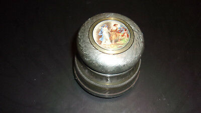 Vintage Metal Music Box- Trinket - Victorian Theme- Dresser Box