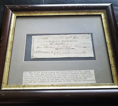 Rare! Early Bank Of The United States  Revolutionary Era Framed Note 1791