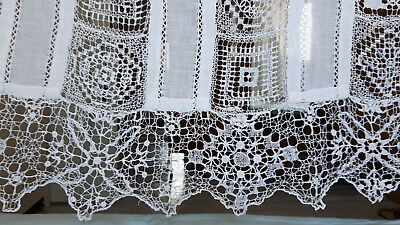 Antique french handmade net lace filet lace cutwork panels drape white curtain
