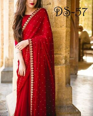 Red Indian Designer Saree Party Wear  Ethnic Wedding Designer Sari With Blouse