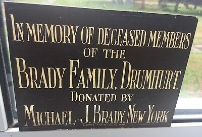 Rare Find Original antique In Memory Brady Dublin & New York stained glass C1916