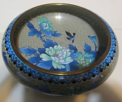 """Vintage Chinese Cloisonne Brass Bowl, 9"""", Shades of Blue Floral with Birds"""